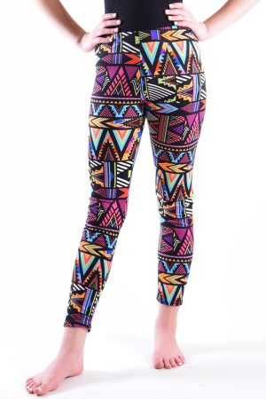 Girls Aztec Print Ankle Leggings