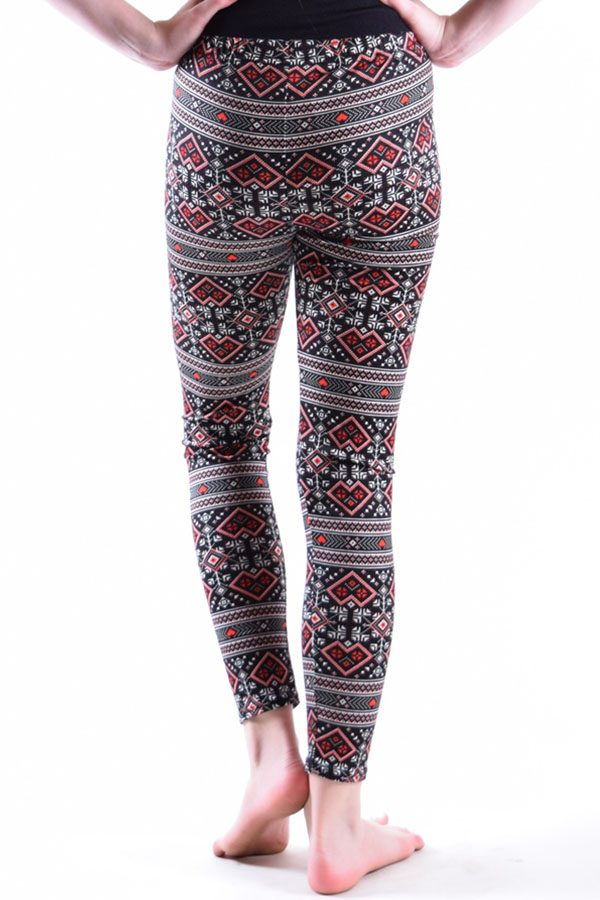 Girls Aztec Red Print Leggings