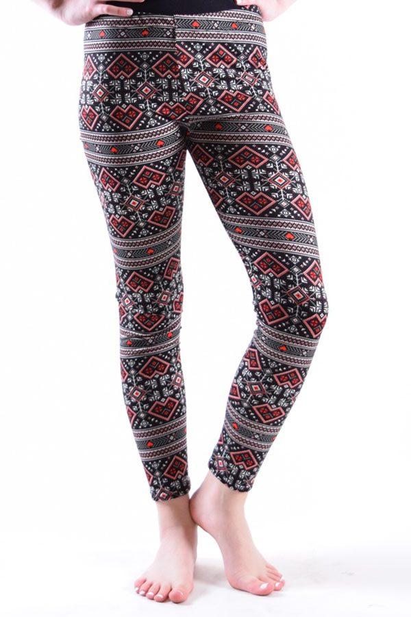 Girls Aztec Red Print Leggings