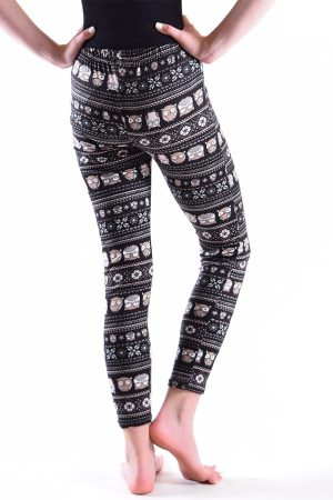 Girls Black Owl Print Leggings
