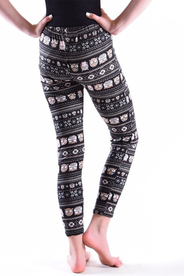 Girls Black Owl Print Leggings