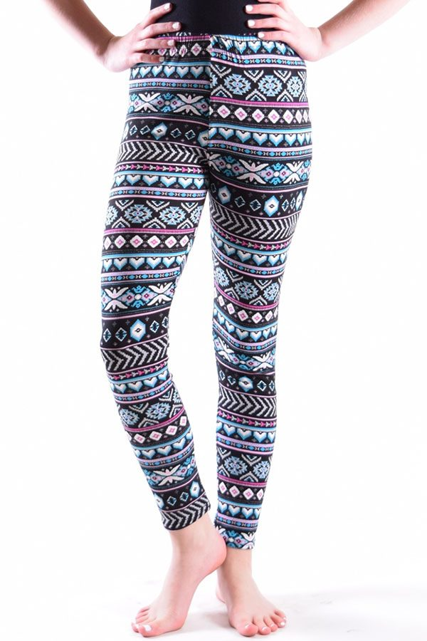 Girls Blue Heart Diamond Stripe Soft Stretch Leggings