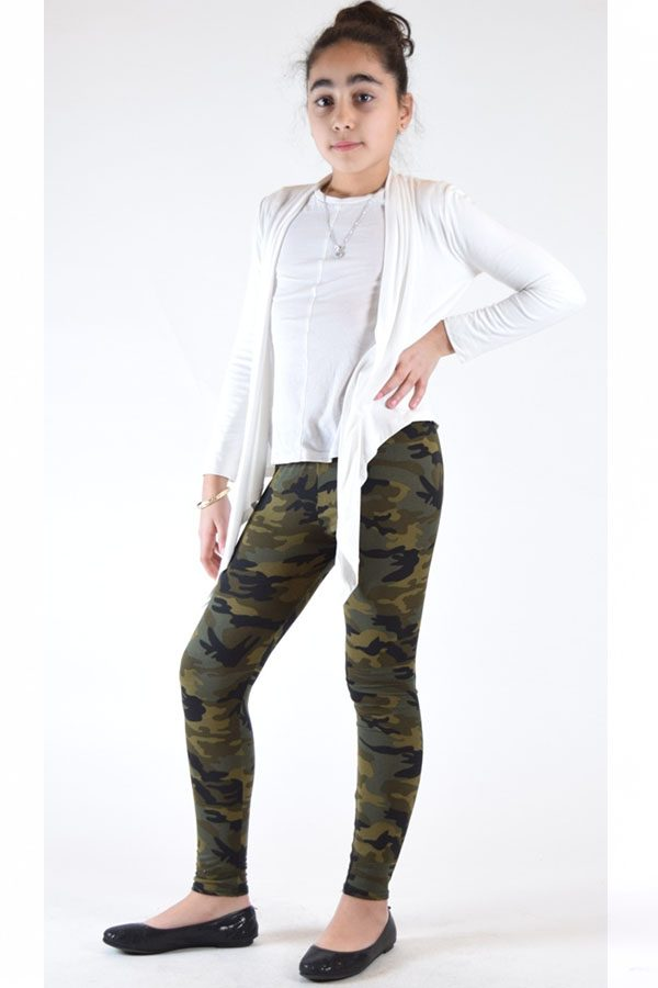Girls Army Green Camouflage Print Leggings