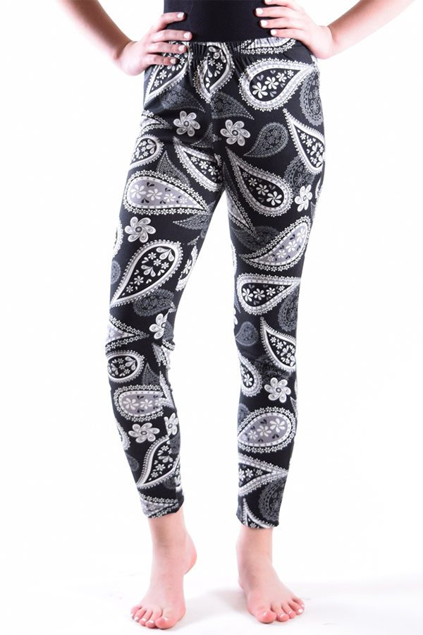 Girls Paisley Flower Print Ankle Leggings
