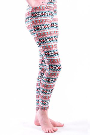 Girls Red Tribal Print Leggings