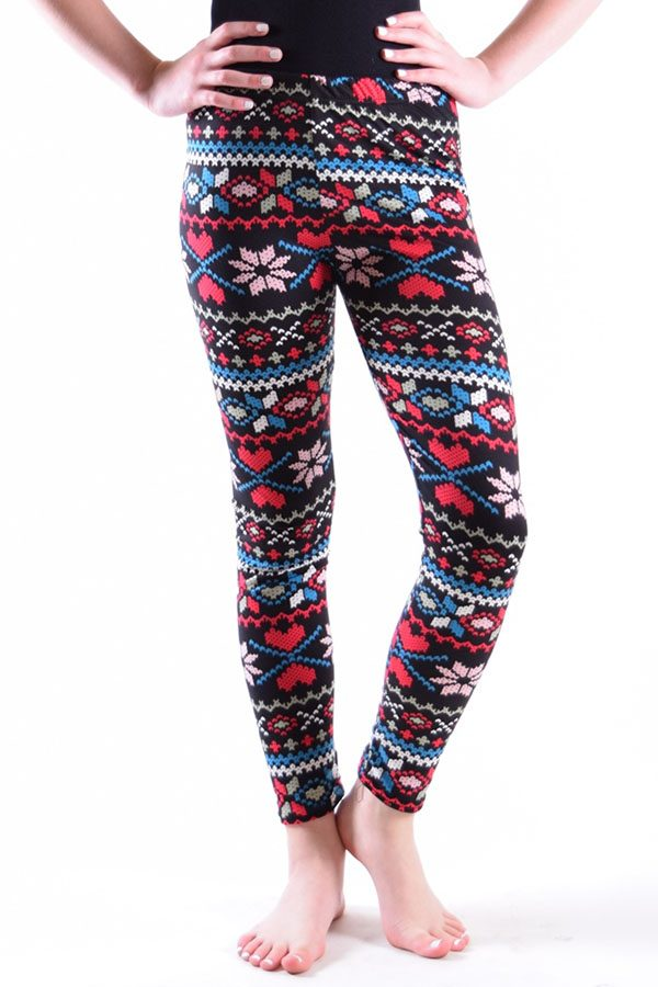 Girls Tribal Bold Heart Print Leggings