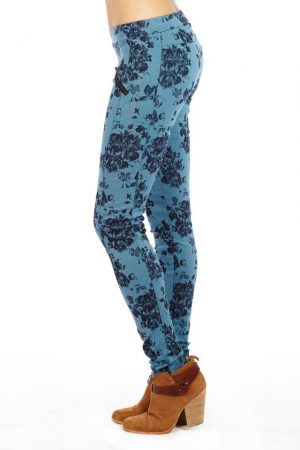 Flower Print women's Zipper Jeggings